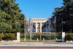 Geneva, Switzerland - October 18, 2017: United Nations Member St. Ates flags near Palace Of Nations, home of the United Nations Office stock photos