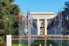 Geneva, Switzerland - October 18, 2017: United Nations Member St. Ates flags near Palace Of Nations, home of the United Nations Office Stock Image