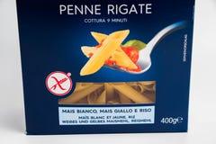 Geneva/Switzerland- 16.07.18 : Pasta box barilla gluten free fusilli penne rigate italia. Close up pasta gluten free barilla italian stock photo