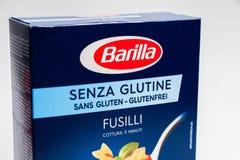 Geneva/Switzerland- 16.07.18 : Pasta box barilla gluten free fusilli penne rigate italia. Close up pasta gluten free barilla italian royalty free stock photography