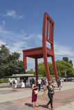 Geneva Switzerland The Place des Nations iand the Broken Chair. The Place des Nations is a resolutely contemporary work. On the ground, strips of granite, whose stock image