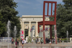 Geneva Switzerland The Place des Nations iand the Broken Chair. The Place des Nations is a resolutely contemporary work. On the ground, strips of granite, whose royalty free stock images