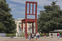 Geneva Switzerland The Place des Nations iand the Broken Chair. The Place des Nations is a resolutely contemporary work. On the ground, strips of granite, whose stock photo