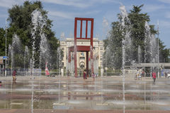 Geneva Switzerland The Place des Nations iand the Broken Chair Royalty Free Stock Photos