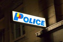 Geneva/Switzerland - 29.09.18 : Police station neon sign board night lamp led light royalty free stock photos