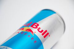Geneva/switzerland-16.07.18 : Red bull sugar free energy drink. Can of red bull isolated on white close up stock image