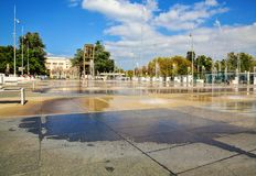 Broken Chair on the United Nation square in GENEVA. royalty free stock images