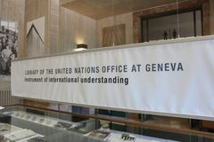 GENEVA, SWITZERLAND - SEPTEMBER 15 - Library of United Nations royalty free stock photography