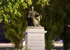 Geneva/switzerland-29.08.18 : Statue of jean jacques rousseau phylosopher stock image