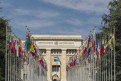 Geneva Switzerland United Nations. The Allée des Nations, with the flags of the member countries royalty free stock photo