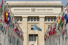 Geneva Switzerland United Nations. The Allée des Nations, with the flags of the member countries royalty free stock photos