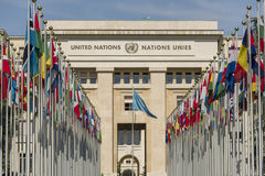 Geneva Switzerland United Nations. The Allée des Nations, with the flags of the member countries stock photos
