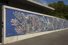 Geneva Switzerland United Nations ceramic mosaic made by Swiss artist Hans Herni. At The Place des Nations you fond the Fresco de la Paix, an immense ceramic royalty free stock photo