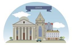 Geneva, Switzerland. Vector for you design Stock Photo