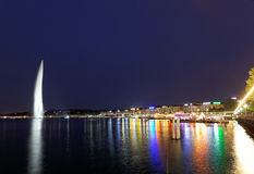 Geneva water jet on Lake Leman at night Royalty Free Stock Photo