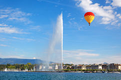 Geneva water jet on Lake Leman at summer Royalty Free Stock Photography