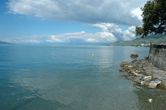 Geneve在La游览dePeilz的湖岸在瑞士 库存图片