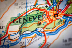 Geneve City on a Road Map Royalty Free Stock Images