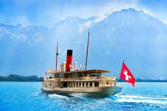 Geneve Lake Leman steamer ship Switzerland. Geneve Lake Leman Geneva paddle steamer ship Switzerland with Swiss flag stock photos