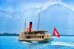 Geneve Lake Leman-stoombootschip Zwitserland stock foto's