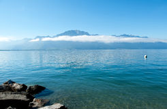 Geneve lake in Montreux. In the canton of Vaud in Switzerland Stock Photo