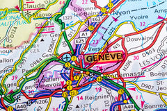 Geneve map. The city of  Geneve in detail on the map Stock Photo