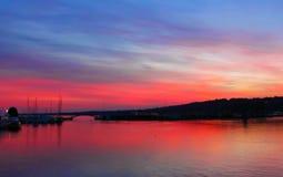 Geneve by morning. Beautiful sunrise on the lake Geneva, Switzerland Stock Image