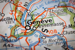 Geneve. On a road map Stock Photos