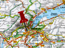 Geneve in Switzerland. Map with pin point of Geneve in Switzerland Stock Image