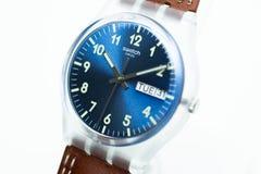 Geneve, Switzerland 07.10.2020 - Swatch transparent plastic case quartz watch