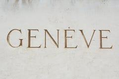Genewa podpisuje wewnątrz Francuskiego Zdjęcie Royalty Free