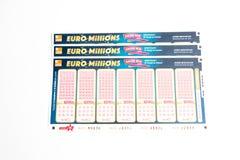 Genewa/Switzerland-09 12 18: Euro milionu loto loteryjnego bileta prześcieradła papieru gra Europa fotografia stock