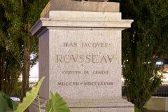Genewa/switzerland-29 08 18: Statua cajgowy Jacques rousseau phylosopher zdjęcie royalty free