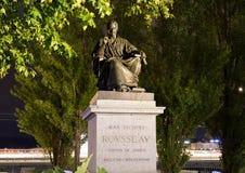 Genewa/switzerland-29 08 18: Statua cajgowy Jacques rousseau phylosopher obraz stock
