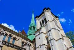 Genewa Szwajcaria, Czerwiec, - 17, 2016: St Pierre katedra obraz royalty free