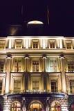 Genewa, Szwajcaria 09/ 09 18: Metropole luksusu fantazi nocy hotelowy Lemański światło zdjęcie royalty free