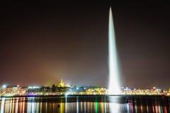 Genf bis zum Night Lizenzfreie Stockbilder