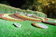Genf-Blumen-Uhr Stockfoto
