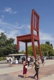 Genf die Schweiz das Platz-DES-Nationen iand der defekte Stuhl Stockbild