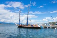 Genf, die Schweiz - 17. Juni 2016: Ansicht über See Stockfotos