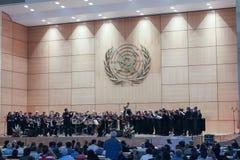 GENF, die SCHWEIZ - 15. September - Hall von Plenarsitzungen lizenzfreies stockbild