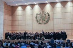 GENF, die SCHWEIZ - 15. September - Hall von Plenarsitzungen lizenzfreie stockbilder