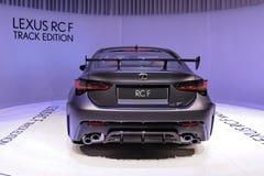89. Genf-Internationale Automobilausstellung - Bahn-Ausgabe Lexuss RC-F stockbild