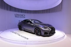 89. Genf-Internationale Automobilausstellung - Bahn-Ausgabe Lexuss RC-F stockfoto