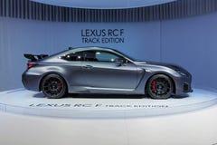 89. Genf-Internationale Automobilausstellung - Bahn-Ausgabe Lexuss RC-F lizenzfreie stockbilder