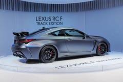 89. Genf-Internationale Automobilausstellung - Bahn-Ausgabe Lexuss RC-F lizenzfreies stockfoto