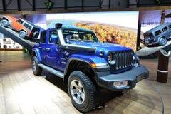 88. Genf-Internationale Automobilausstellung 2018 - Jeep Wrangler Sahara 4x4 Lizenzfreies Stockfoto