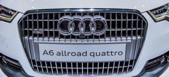 Genf Motorshow 2012 - Audi A6 vorderer Grill Lizenzfreie Stockfotografie