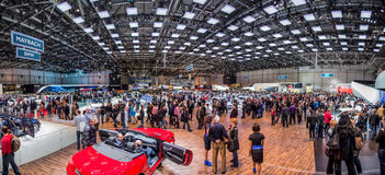 Genf Motorshow 2012 - Ausstellung Hall panoramisch Stockfotografie