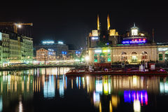 Genf nachts, die Schweiz Lizenzfreies Stockfoto